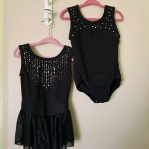 Set of 2 Black Girls Leotards Size XS 4/5